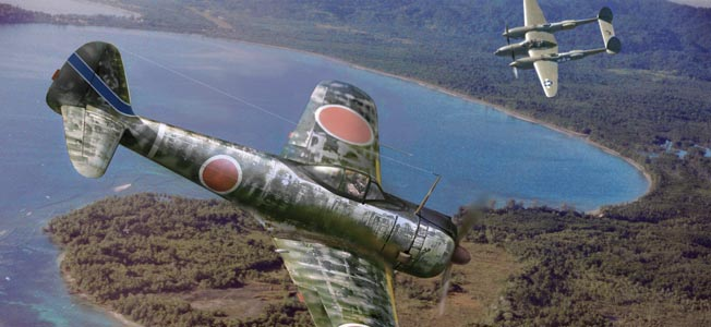 In this painting by Jack Fellows, a 59th Sentai Nakajima Ki-43 Hyabusa fighter, code-named Oscar by the Allies, maneuvers into firing position against a P-38 Lightning fighter of the U.S. Fifth Air Force.