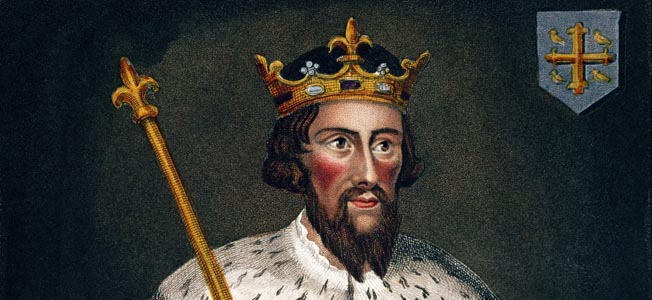 After being driven into the swamps by King Guthrun, Saxon King Alfred the Great led his Saxons to victory at the Battle of Edington in May 877.