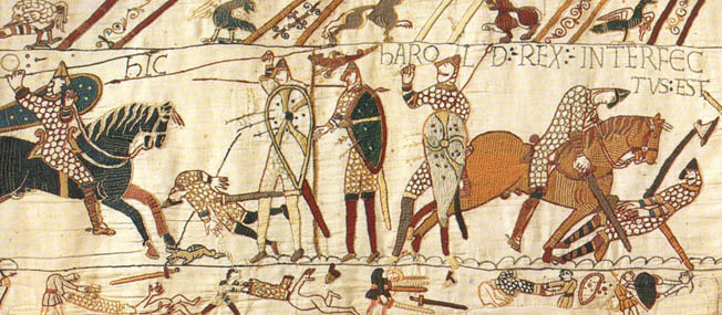 The Normans make their bid for Saxon England against King Harold in the Battle of Hastings.