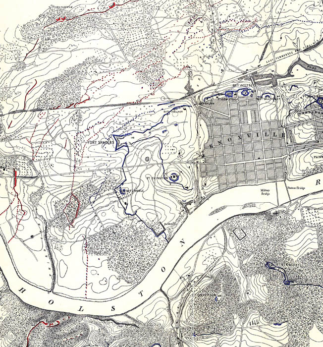 A period map shows the prominent position held by Fort Sanders in the wester approaches to the Union defenses at Knoxville.