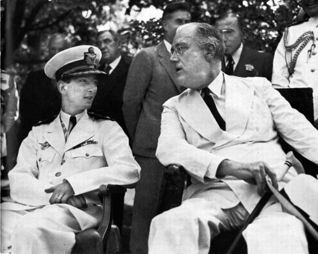 Young King Peter II of Yugoslavia confers with President Franklin D. Roosevelt after fleeing Yogoslavia when the Nazis invaded. He never returned again.