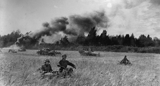 After absorbing a Soviet counterattack in July 1944, the Germans went on a counteroffensive of their own, only to be halted on Hitler's orders. Here mechanized Grossdeutschland troops counterattack in August. Knobelsdorff was then transferred to fight Patton in the West.