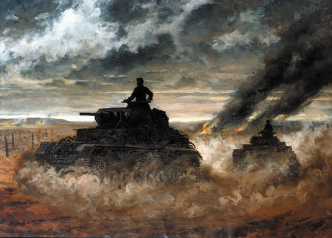 A German combat artist captured the smoke- and dust-shrouded battlefield as German tanks drive deeply into the Soviet Union in the summer 1941. Otto von Knobelsdorff demonstrated outstanding leadership abilities during the fighting in Russia.