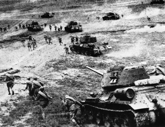 Considered the largest battle in history, the Battle of Kursk resulted in over a million casualties. Knobelsdorff's men fought skillfully but could not overcome massive Soviet troops and tanks, shown here, at Kursk.