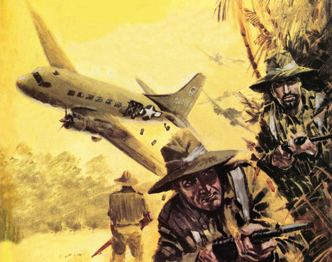 In this painting, Chindits under the command of Brigadier Orde Wingate wait to gather supplies dropped from a Douglas C-47 transport plane.