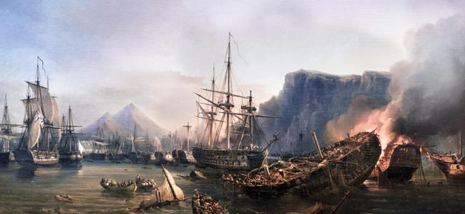 A combined Egyptian and Turkish fleet was no match for the skilled gunnery of a British, French, and Russian force in the Greek War of Independence.