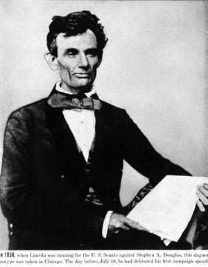 A somewhat disheveled Lincoln sports a gigantic bow tie in this 1858 photograph, believed to have been made the day after Lincoln's first campaign speech for Douglas's Senate seat.