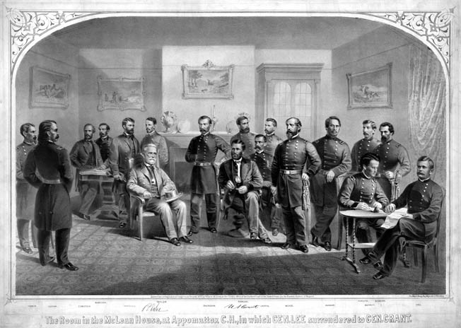 Robert E. Lee and Ulysses S. Grant, seated, wait for the surrender document to be copied. Home owner Wilmer McLean commissioned this postwar print in a futile attempt to recoup his losses after Union officers stole all his furniture that day.