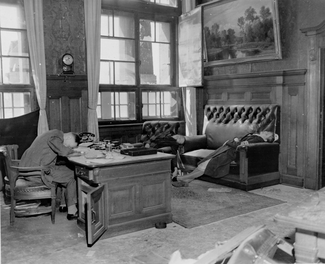 Not wishing to live in a defeated Germany, Leipzig municipal treasurer Kurt Lisson, his wife, and daughter committed suicide in the Rathaus (city hall).