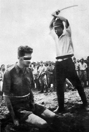 Australian coastwatcher Sergeant Leonard Siffleet was captured by natives and handed over to the Japanese on New Guinea in 1943. After interrogation and torture, Siffleet was beheaded by Lieutenant Yasuno Chikao. The widely circulated photo was later found on the body of a dead Japanese soldier.