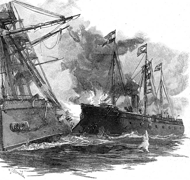 The Ferdinand Max's iron ram punched through the armor and heavy timbers into the engine room of the Re d'Italia, leaving a gaping hole on her port side. In the mistaken belief that the Re d'Italia was the enemy's flagship, four Austrian ironclads descended on the unfortunate vessel.