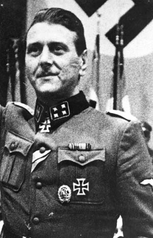 Proudly displaying the dueling scar he received at the University of Vienna, SS Major Otto Skorzeny was one of Nazi Germany's most feared officers.