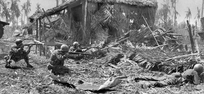 In October 1944, a battalion of the U.S. 24th Infantry Division, cut off and running out of ammunition, gave the Japanese all they could handle.