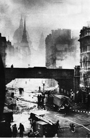 Much of central London was a smoldering, burned-out hulk. This view, taken the day after the raid, shows Ludgate Circus with St. Paul's in the background.