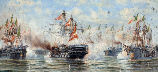 The Austrian and Italian navies fought a desperate battle In the Adriatic sea In 1866. Although outnumbered, the Austrians prevailed.