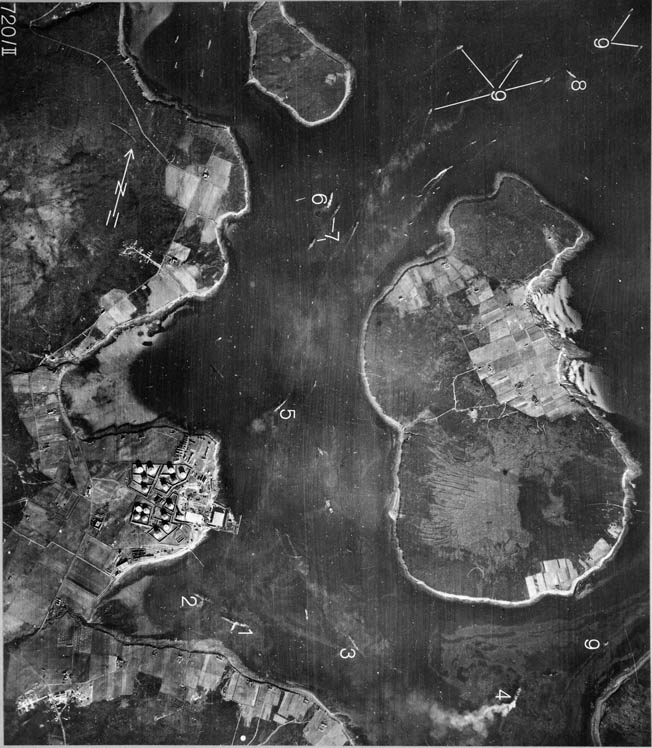 One of several German aerial photos taken of Scapa Flow before the attack. Numbers mark British ships.