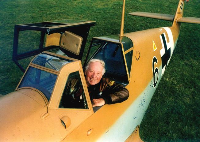Jack Hildebrandt, smiling in the cockpit of a Messerschmitt Me-109. During his Luftwaffe service, he flew a Focke-Wulf Fw-190.