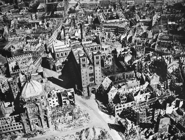 Aerial view of the nearly totally devastated Würzburg after a raid by 225 British Royal Air Force bombers on March 16, 1945. Approximately 90 percent of the city was destroyed in less than 20 minutes, and an estimated 5,000 people died during the raid and subsequent firestorm.