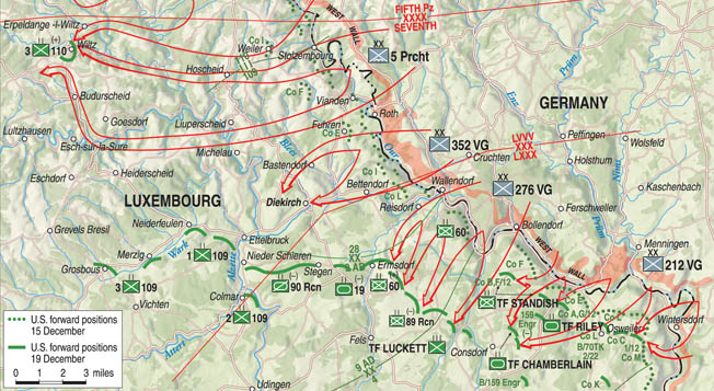 The southern shoulder at the beginning of the Ardennes Offensive saw German forces catching the Americans in Luxembourg by surprise, thrusting westward all the way to Wiltz. Hitler's goal of reaching Antwerp, however, was never realized.