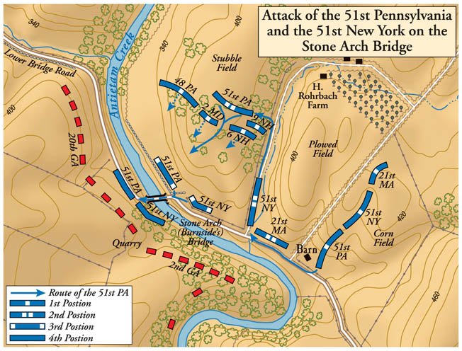 The 51st Pennsylvania took a circuitous route to get in position for a successful rush of the bridge.