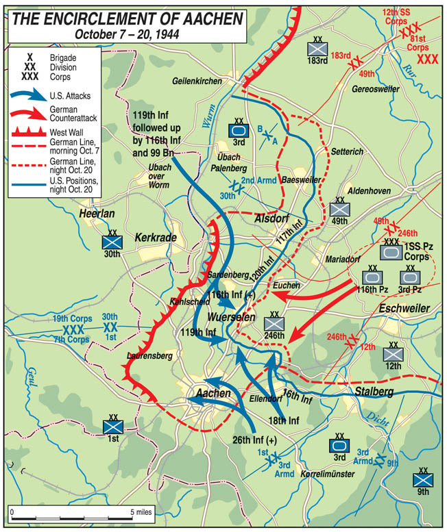 Attacking from multiple directions, troops of several American divisions isolated the German city of Aachen, which was eventually surrendered after days of heavy fighting. Aachen was the first substantial German city to fall to the advancing Americans.
