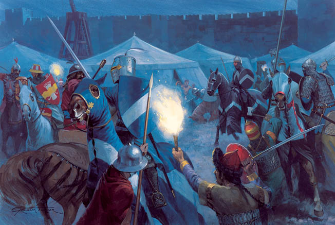 Muslims scramble to repulse a night sortie by mounted Crusaders at Acre. Several sorties aimed at damaging the Muslim trebuchets had no influence whatsoever on the outcome of the battle.