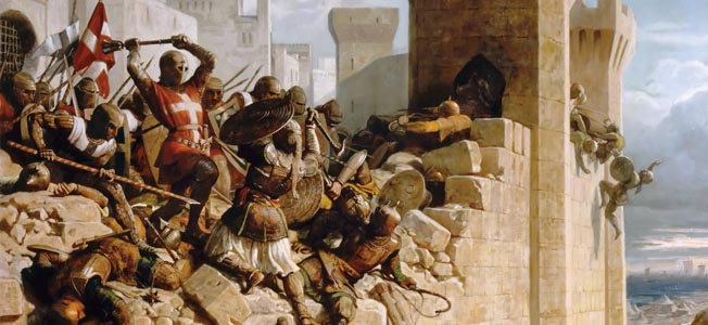 Sultan Khalil's Muslims besieged King Henry II of Jerusalem's Crusaders at Acre in 1291. The Muslims proved unstoppable.