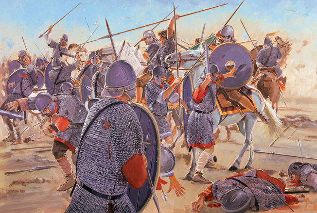 alens watched his left flank melt away as the Gothic cavalry rolled it up. Entire cohorts of Roman infantry disappeared beneath the Gothic horsemen as they drove inexorably through the Roman ranks.