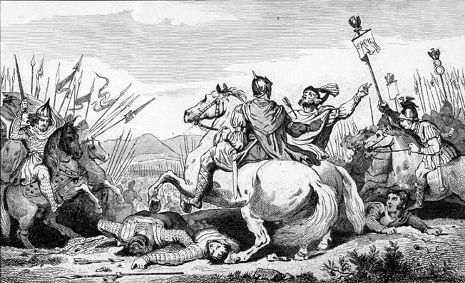 Theodoric, king of the Visigoths and ally to the Romans, falls in battle against Attila near Chalons in this 19th-century engraving.