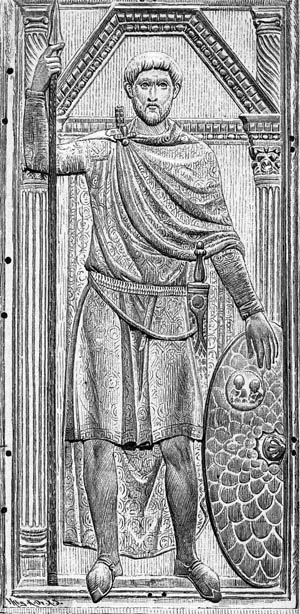 "Flavius Aetius, the Roman commander at Chalons, epitomized the marshal spirit of the Western Romans and is remembered as the ""last of the true Romans."""