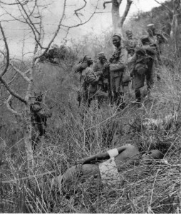 A patrol of 4th Kings African Rifles comes upon a wounded German Askari in the bush.