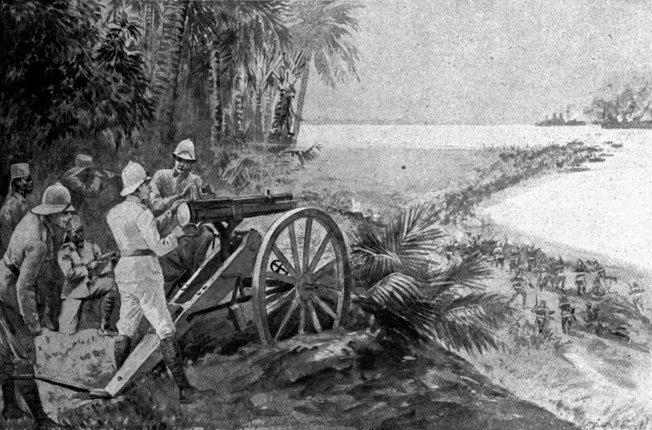 In this period illustration, Lettow-Vorbeck's troops are shown repelling the British landings in German East Africa in November 1914.