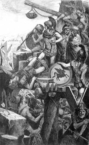 Alexander surveys the grisly scene outside besieged Tyre.