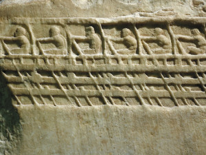 An ancient marble relief from the 5th century BC depicts oarsmen rowing a Trireme, such as those used to assault Tyre.