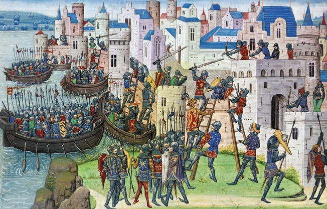 Attack on the city of Tyre. From the History of Alexander the Great. France, 15th CE. Dutuit 456, f.58v. Photo: Bulloz. Image licenced to Claudia Ponton Art Resource by Claudia Ponton Usage : - 3000 X 3000 pixels (Letter Size, A4) © RÈunion des MusÈes Nationaux / Art Resource