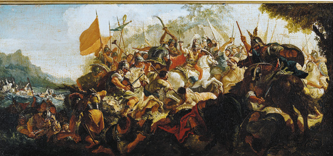 The Battle of the Granicus in May 334 BC (oil on canvas) by Fontebasso, Francesco (1709-69)