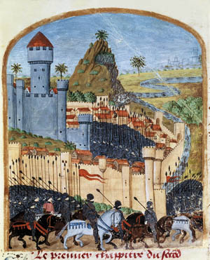 Surrender of Celerne castle, from 15th century French manuscript Life of Alexander the Great by Quinte Curce (Quintus Curtius)