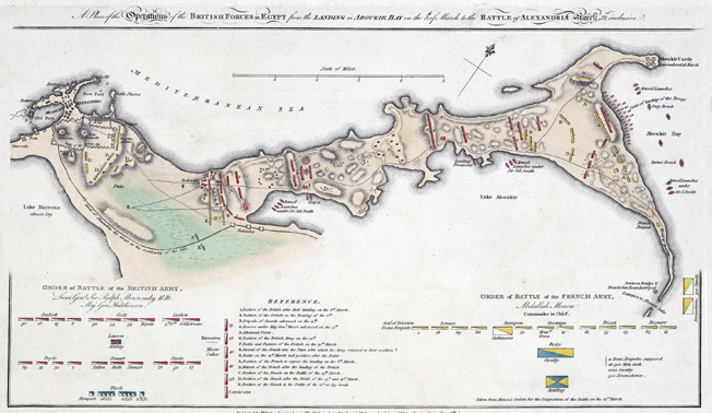 This period map shows the British Progress toward Alexandria, moving from right to left. The redoubt by the sea on the British right is the site of Moore's repulse of the main French attack.
