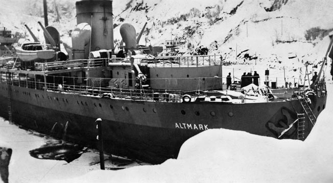 The German ship Altmark, pictured in Jossingfjord, February 1940. Loaded with captured British sailors, she was boarded in Norwegian waters by the Royal Navy, touching off a diplomatic crisis between Britain and Norway.