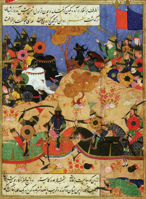 Desc: Timur's invasion on India, from Zafar Nama, life of Timur or Tamerlaine, 1336-1405, Turkic conqueror of Islamic faith • Credit: [ The Art Archive / Victoria and Albert Museum London / Eileen Tweedy ] • Ref: AA335367