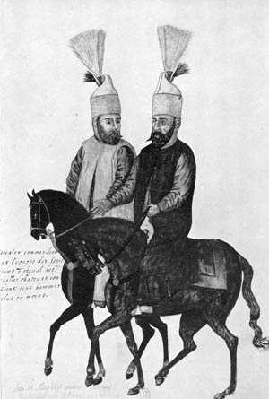TURKISH JANISSARIES. Two janissaries, members of a Turkish military corps founded by the Ottomans in the 14th century. Watercolor, 1590.