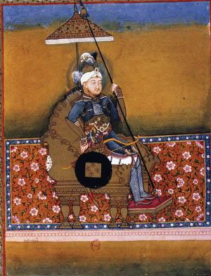 TAMERLANE (1336?-1405). Turkic conqueror, born near Samarkand. Indian ms. illumination.