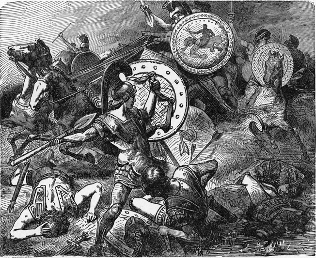 Theban general Epaminondas saves the life of fellow general Pelopidas during the victory over the Spartans at Leuctra in 371 bc.