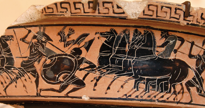 Hoplite spearmen confront cavalry forces in this fragment of an Attic scroll, circa 510 BC.