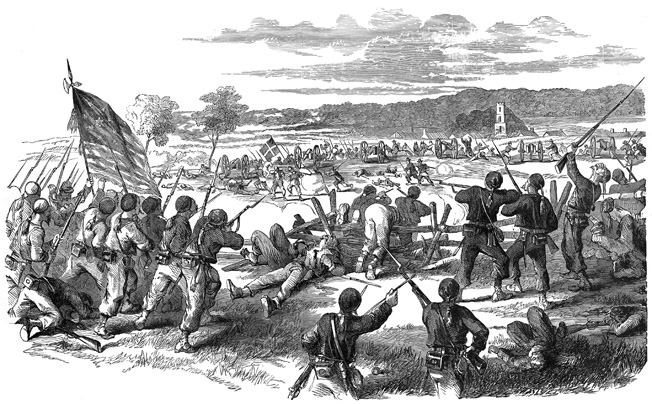 The 9th New York Zouaves, in their distinctive baggy uniforms, repulse a Confederate charge from behind a rail fence outside of Sharpsburg.
