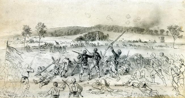 Combat artist Edwin Forbes shows the high tide of the Union IX Corps attack against Sharpsburg before it was hurled back by Maj. Gen. A.P. Hill's Light Division.