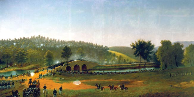 After squandering four hours in which two understrength Confederate regiments held back the Union IX Corps, a spirited attack captured the bridge at midday. Fairchild's brigade participated in the flanking move through a downstream ford.