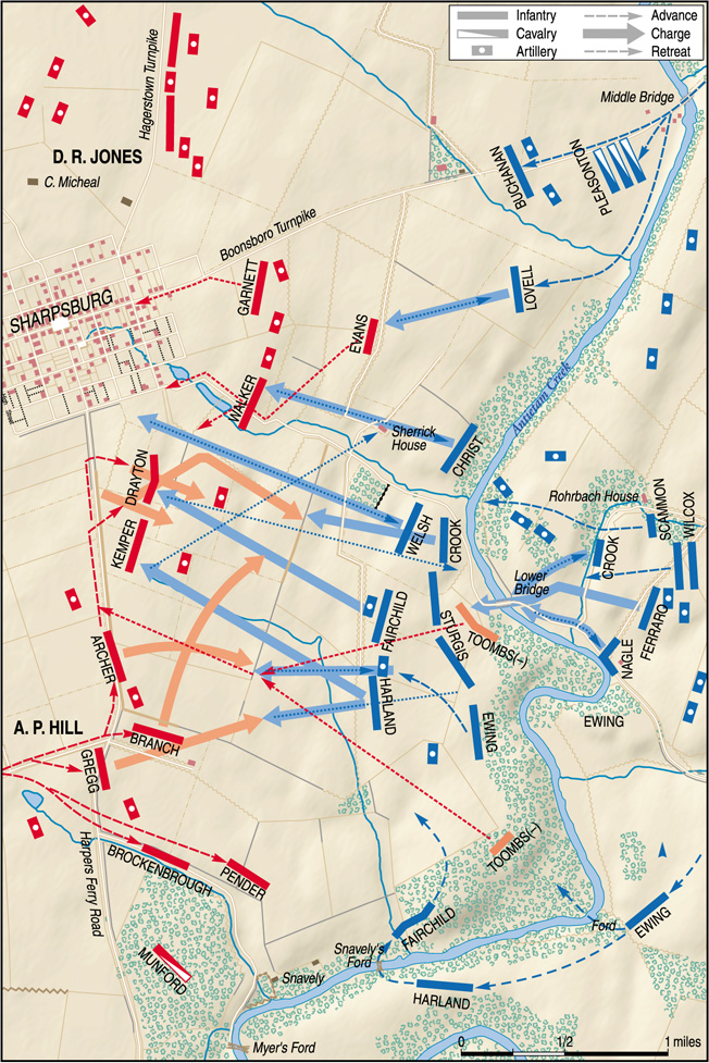 Federal troops driving toward Sharpsburg were attacked suddenly on the left flank by Ambrose Powell Hill's troops, who had just reached the battlefield after marching from Harpers Ferry.