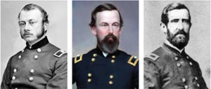 Union commanders Colonel Robert Potter, Brig. Gen. Isaac Rodman, and Colonel Thomas Welsh. Branch and Rodman were among the six generals who died at Antietam.
