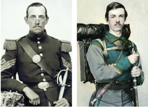 Captain Otis Baker (left) of the 4th Rhode Island. A.P. Hill's Confederate division forced his regiment to withdraw. A soldier from the 11th Virginia of James Kemper's badly depleted brigade of Virginians.